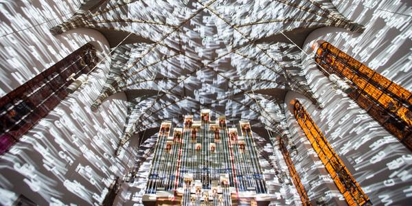 Die St. Katharinen Kirche in Frankfurt während der Luminale 2016. Foto: Messe Frankfurt Exhibition GmbH / Jochen Günther
