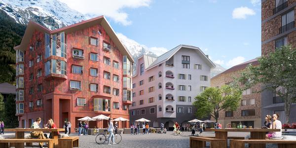 Das Haus 'Alpenrose' in Andermatt (Außenrendering). Bildquelle: Ganter Interior GmbH.