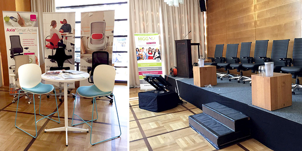 Scandinavian Business Seating stellte als Kooperationspartner des 1. Dortmunder Gesundheitstags für Führungskräfte nicht nur die Stühle für die Podiumsdiskussion zu Verfügung, sondern präsentierte vor Ort auch eine Auswahl seiner Sitzlösungen für eine bewegtere Arbeitswelt.