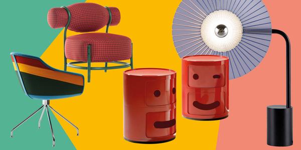 Fotos (v.l.): 1. Luca Nichetto ließ sich für den 'Canal Chair' von alten Booten seiner Heimatstadt Venedig inspirieren (Moooi). 2. Gar nicht kleinkariert: Sessel 'Chignon' (Gebr. Thonet Vienna). 3. Zum 50. Geburtstag gibt's 'Componibili' jetzt u.a. in 'Smile'-Version (Kartell). 4. Die Leuchte 'Rays' besticht durch handgewebte Details (Roche Bobois).