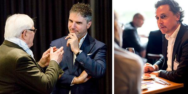 Nicht nur die Vorträge boten viel Gesprächsstoff für die Pausen: Produktdesigner Tassilo von Grolman diskutierte mit Kurt Wallner, Managing Director von Poltrona Frau Auditorium Seating, und auch René Sitter, Geschäftsführer von SB Seating (v.l.) unterhielt sich angeregt.