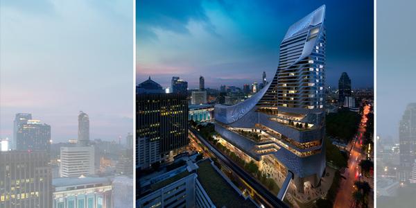 Das 27-stöckige Gebäude des neuen Park Hyatt, entworfen vom Architektenteam des Londoner Studios AL_A, definiert das Stadtbild Bangkoks mit seiner außergewöhnlichen Form völlig neu. Gemeinsam mit dem in Bangkok ansässigen Kreativteam von Pidesign schufen sie ein imposantes Wahrzeichen im Großstadtdschungel.